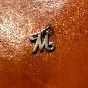 james avery 'M' script initial charm